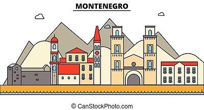 építészet, tervezés, épületek, vektor, landmarks., elszigetelt, város égvonal, ábra, editable, strokes., montenegro, árnykép, egyenes, lakás, concept., panoráma, ikonok, utcák, állhatatos, táj