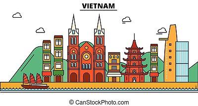 építészet, tervezés, épületek, vektor, landmarks., elszigetelt, város égvonal, ábra, editable, strokes., árnykép, egyenes, lakás, vietnam, concept., panoráma, ikonok, utcák, állhatatos, táj
