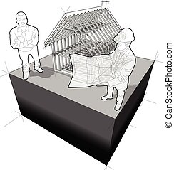építészmérnök, ábra, vásárló, váz, épület