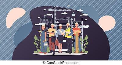 építők, konstruál, építészmérnök, brigádvezető