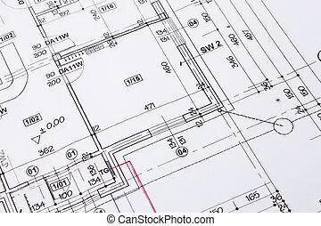 épület ábra, emelet, rajz, closeup.