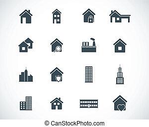 épület, állhatatos, fekete, vektor, ikonok