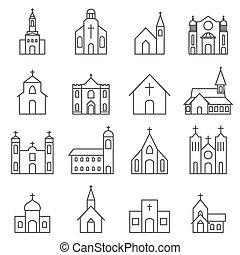 épület, állhatatos, templom, vektor, ikon