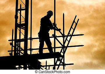 épület, árnykép, állványzat, munkás, házhely, szerkesztés