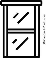 épület, áttekintés, ablak, mód, ikon