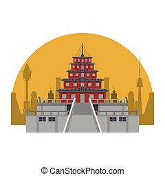 épület, ázsiai, halánték