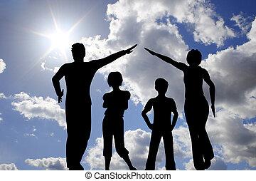 épület, ég, család