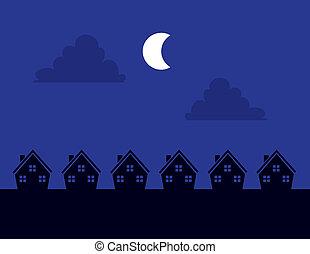 épület, éjszaka, árnykép