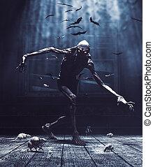 épület, éjszaka, bogeyman, ön, ábra, szörny, ördög, kísértetjárta, érkező, bukás