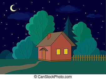 épület, él, erdő, éjszaka