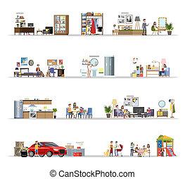 épület, épület, belső, állhatatos, garázs