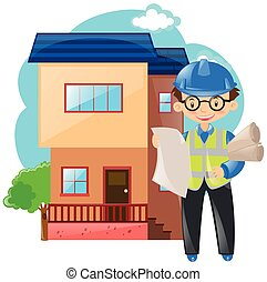 épület, épület, dolgozó, konstruál