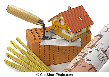 épület, épület, tégla, eszközök