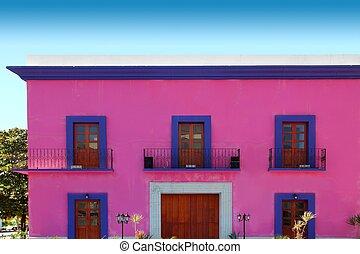 épület, épülethomlokzat, fából való, ajtók, rózsaszínű, mexikói