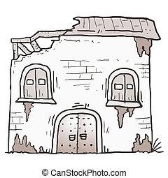 épület, öreg, karikatúra