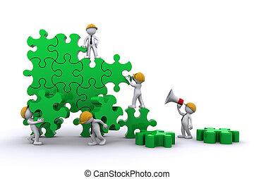 épület, ügy, concept., munka, puzzle., befog, buuilding