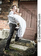 épület, őt elhoz, lovász, boldog, menyasszony