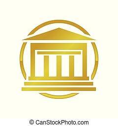 épület, arany-, alapít, jelkép, tervezés, jel