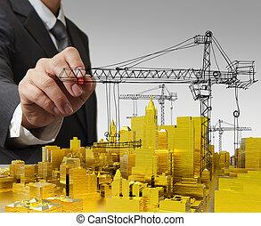 épület, arany-, fogalom, kialakulás, csalogat