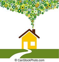 épület, barátságos, environmentally