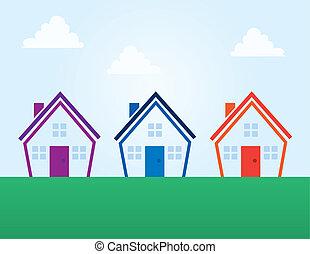 épület, befest, áttekintés, elvont