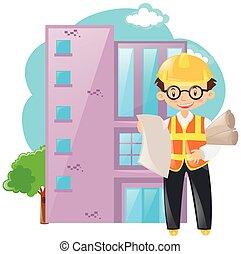 épület, brigádvezető, dolgozó