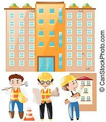 épület, brigádvezető, házhely, dolgozó, konstruál