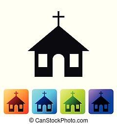 épület, buttons., keresztény, háttér., szín, elszigetelt, vektor, vallás, díszlet egyenesen, ábra, templom, fekete, fehér, church., ikon