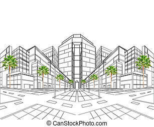 épület, c-hang, két, kilátás, mutat