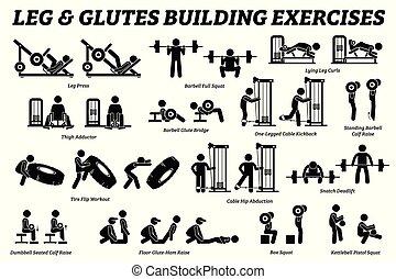 épület, combok, alak, pictograms., bot, glutes, izom, gyakorlás