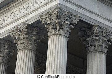 épület, corinthian oszlop, kormány