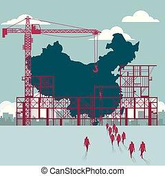 épület, csoport, china's, sétált, házhely., businessmen, alatt, terület, construction.