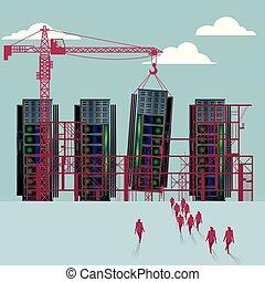 épület, csoport, igen nagyteljesítményű számítógép, sétált, házhely., businessmen, alatt, construction.