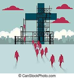 épület, csoport, kereszt, sétált, házhely., businessmen, alatt, construction.