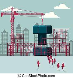 épület, csoport, sétált, házhely., csavar, alatt, construction., businessmen