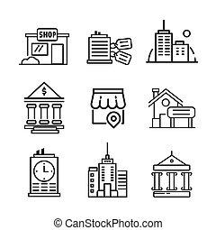 épület, díszlet tervezés, ábra, ikon