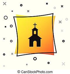 épület, derékszögben, keresztény, háttér., elszigetelt, sárga, button., vallás, vektor, fekete, ábra, templom, fehér, church., ikon