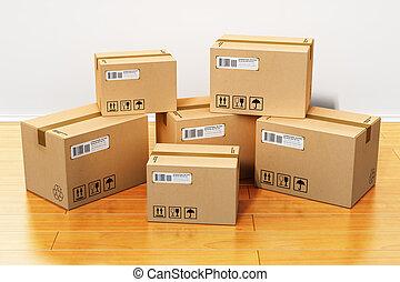 épület, dobozok, kartonpapír, új