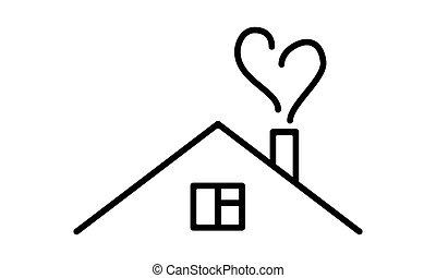 épület, dohányzik, alakít, szív, ábra, vektor, művészet, egyenes