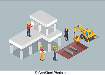épület, eljárás, vektor, színes, ábra