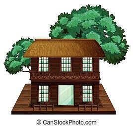 épület, elkészített, two-stories, erdő