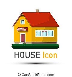 épület, elszigetelt, vektor, háttér, fehér, ikon