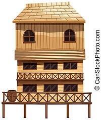 épület, erdő, elkészített, három, emelet