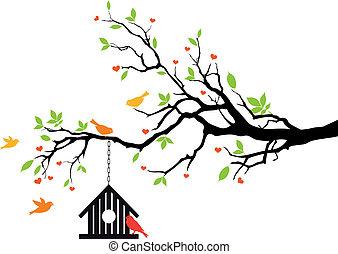 épület, eredet, vektor, madár, fa