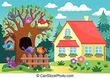 épület, fa, madarak