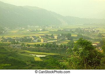 épület, farmland, kína