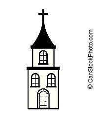 épület, fehér, kereszt, háttér, templom