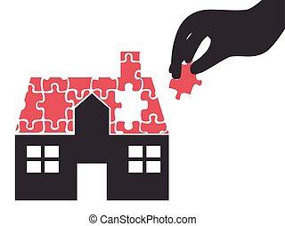 épület, fejtörő munkadarab, vett, kéz