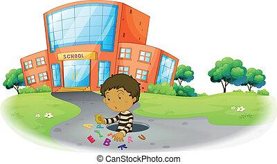 épület, fiú, izbogis, játék, elülső