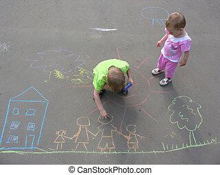 épület, gyerekek, család, aszfalt, rajz